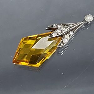 Antique Art Deco Sterling Citrine Paste Necklace